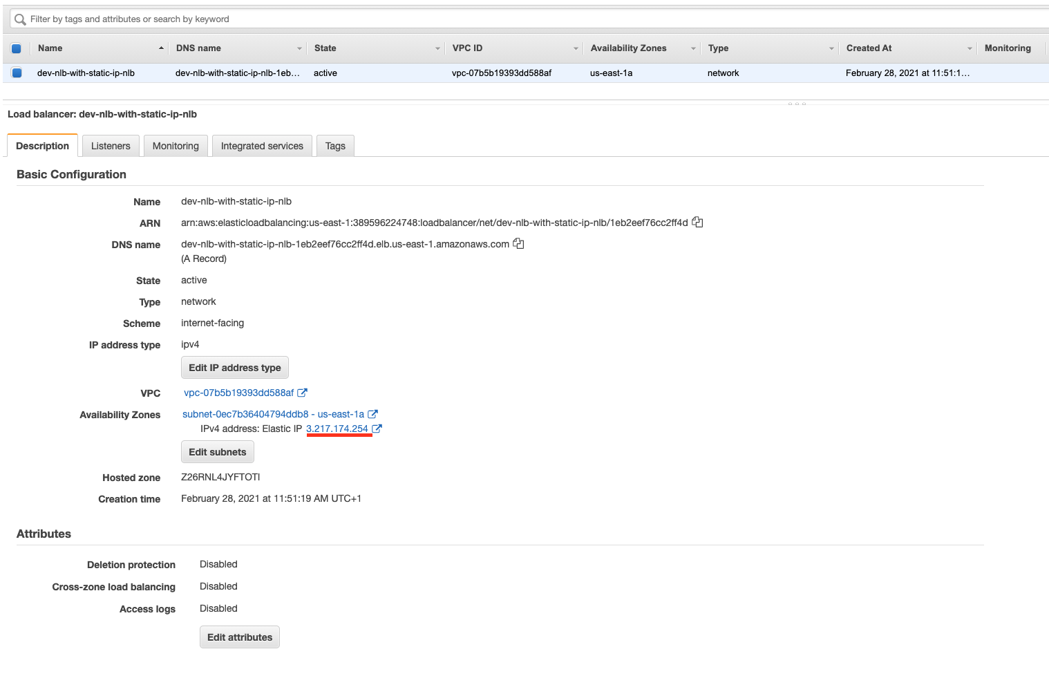 The network load-balancer in the AWS web console