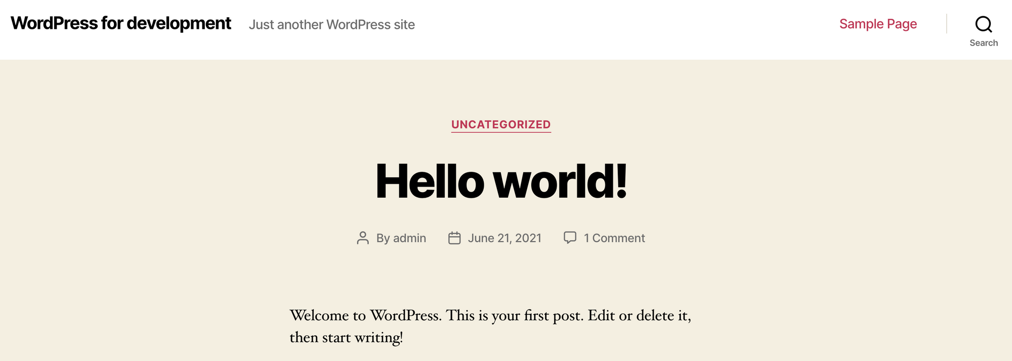 The WordPress home page on localhost:80