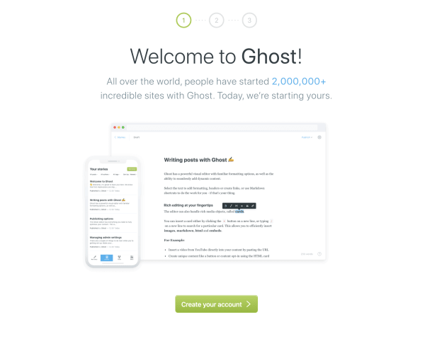 The Ghost Welcome Page
