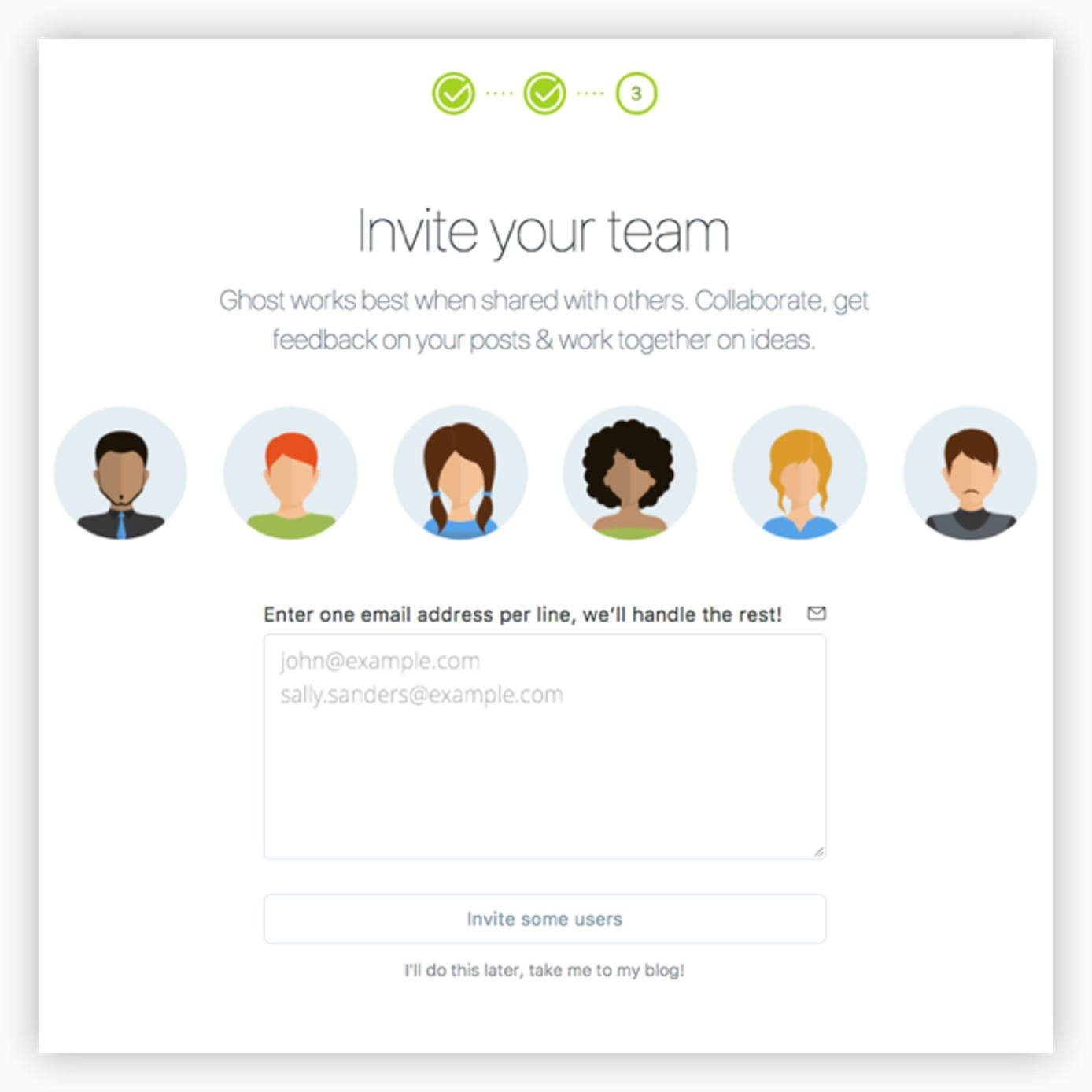 Invite your staff to be part of your Ghost blog