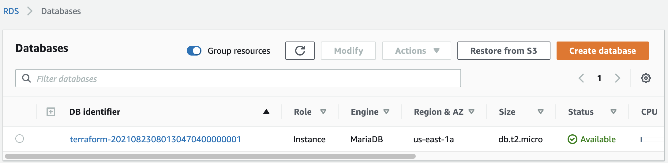 The created RDS database in the AWS web console