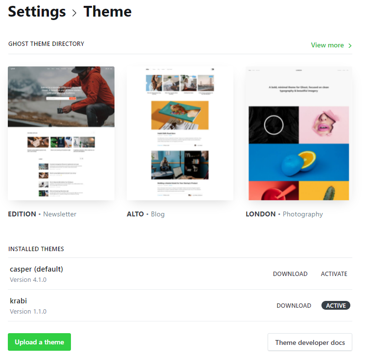 Configure a theme in Ghost
