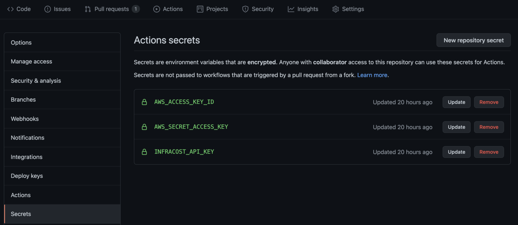 Credentials needed by the Github action workflow stored in a vault